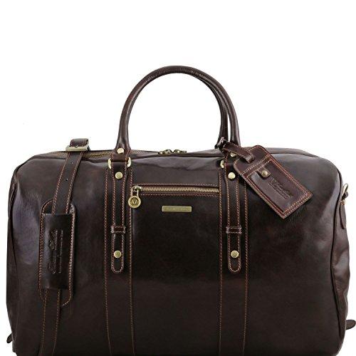 Tuscany Leather TL Voyager Sac de Voyage en Cuir avec Poche Frontale Marron foncé TUSCANY LEATHER