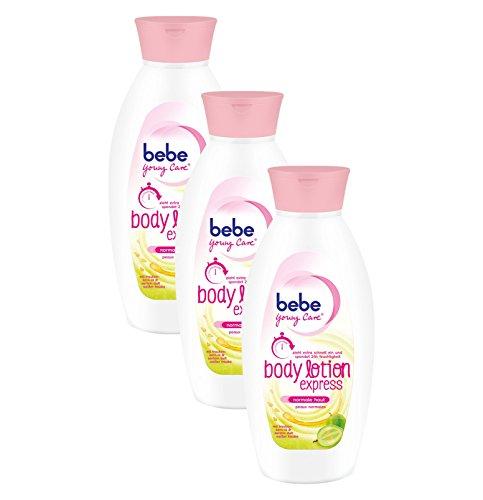 bebe Young Care Express Body Lotion / Schnell einziehende Körperlotion mit Traubenkern Öl für normale Haut / 3 x 400ml