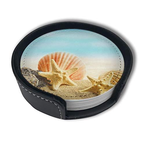 BJAMAJ Untersetzer mit Seestern und Muschel, Premium-PU-Leder, rund, mit Halterungen, geeignet für Zuhause und Küche, 6 Stück