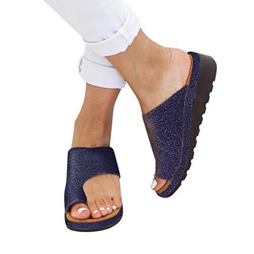 LANSKRLSP Donne Comfy Piattaforma Sandalo della Spiaggia di Estate di Viaggio Scarpe di Moda Sandali da Donna Comode Scarpe 35-43 (Paillette-Blu, 39)
