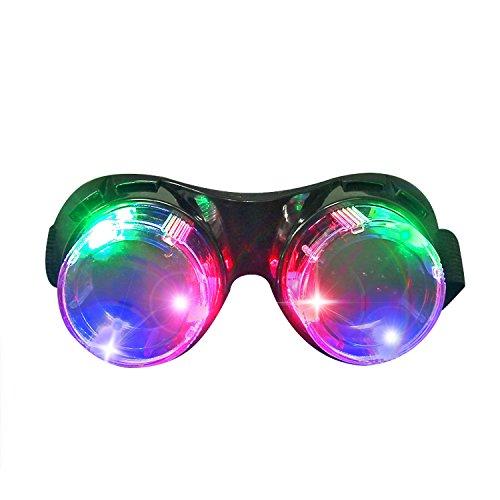 Led Brille, DAXIN Leuchtbrille Partybrille Steampunk Brille für Masquerade Party Nacht Pub Bar Klub Rave (Schwarz)