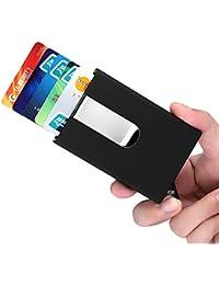 YaFex Pinzas para Billetes Caja de la Tarjeta RFID Bloqueo de Aluminio Tarjeta de Visita Pop-up Automático Tarjeta hasta 5 Tarjetas o 15 Tarjetas de Visita Negro con Clip de Dinero