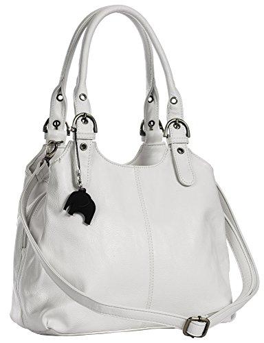 Big Handbag Shop Mehrfachtaschen Mittlere Größe Umhängetasche/Schultertasche für Frauen - Mit langem Schulterriemen und eine kleine Taschencharme (Weiß (Plain S105))