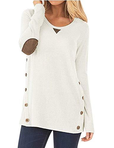 carinacoco Donna Casuale Camicetta Bottone Maglietta Manica Lunga Eleganti Tunica T Shirt Loose Fit False Suede Maglia Tops