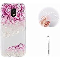 Galaxy J3 Pro 2017 Funda Flor Diagonal,MingKun Samsung Galaxy J3 Pro 2017 J330 Funda Gel Pintado Transparente Flexible Colores Case Cover