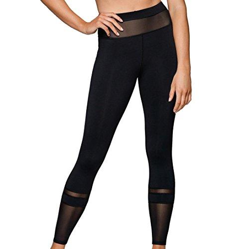 Donne ad alta vita sportiva palestra yoga esecuzione leggings fitness pantaloni allenamento abiti alta vita fuori tasca yoga pantaloni allenamento in esecuzione leggings Morwind Nero