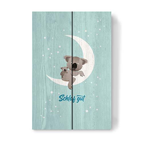 artboxONE Holzbild 30x20 cm Für Kinder Schlaf gut, Kleiner Koala von Künstler Pia Kolle -
