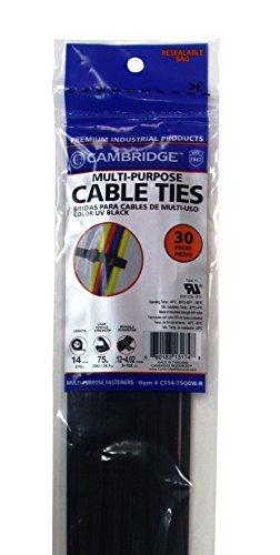 Cambridge 30St., 35,6cm 75lbs Zugfestigkeit, Standard Duty Nylon Kabelbinder, UV-Schwarz (Spitze Cambridge)