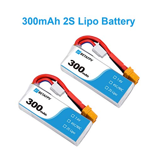 BETAFPV 2pcs 300mAh 2S Lipo Battery HV Battery 45C 7.4V XT30 18AWG Silicone Wire for 2S Whoop