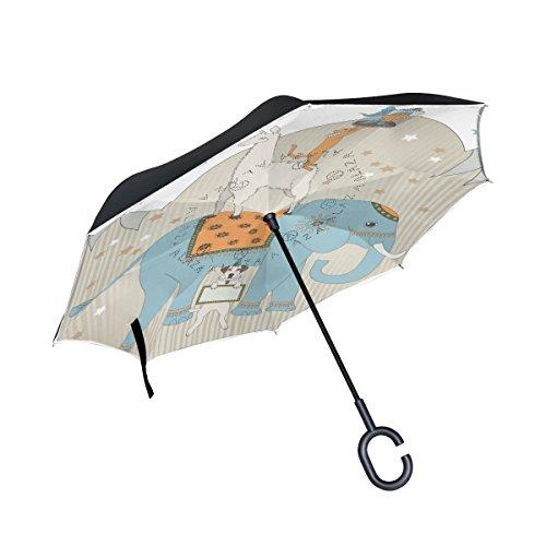 TIZORAX Akrobatische Tiere Elefant Katze Hund Lama seitenverkehrt Double Layer gerade Regenschirme Inside Out wendbar Regenschirm mit C-förmigem Griff für Regen Verwendung Sun Auto (Tier-liebhaber-hund-tag)
