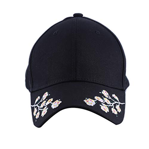 KUHRLRX Classic Adjustable Baseball Cap Damen Koreanische Version Der Trend Persönlichkeit Pflaume Stickerei Einzigartige Kappe, Baumwolle, Schwarz