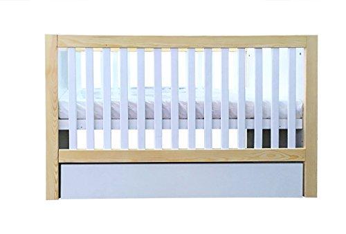 Cuna bebé 120cmx60cm madera color BLANCO pino estilo MODERNO COLCHÓN GRATIS cajón