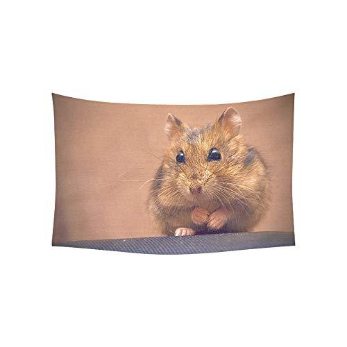 (JSXMNA Wandteppich, Motiv: Hamster sitzt auf seinem Hinterbein, Wandbehang mit Blume, Psychedelic, Wandbehang, indisches Wohnzimmer, Schlafzimmer, 152,4 x 101,6 cm)