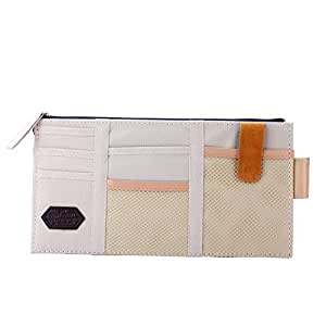 House of Quirk Auto Car Sun Visor Organizer Pouch Bag Card Storage Holder Multi-Purpose Storage Bag - Beige
