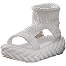 Sandalias mujer, ❤️ Manadlian Sandalias de mujer Zapatos de verano En la plataforma Gladiadores Zapatos de mujer Parte inferior del pan (CN:37, Blanco)