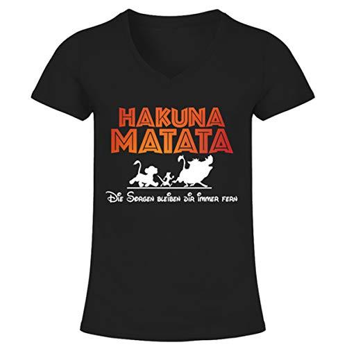 Damen T-Shirt mit V-Ausschnitt | Hakuna Matata | Der König der Löwen XXL - Addict-schwarz-t-shirt