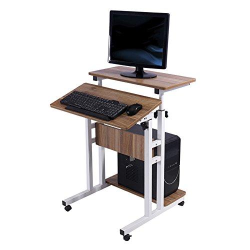 (PENGFEI Laptoptisch Betttablett Lapdesks Massivholz Büro Tabelle Stehen Tragbar Podium Höhenverstellbar mit Riemenscheibe, 60x54,5 cm)