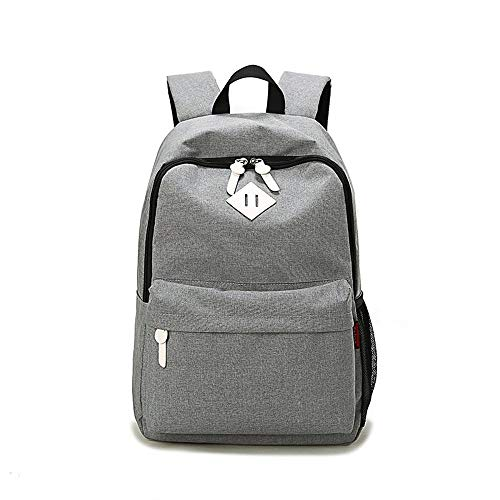 HJT Lightweight Schulrucksäcke 300D Nylon Wasserdicht Freizeit Daypack für Damen und Herren Vintage Rucksack für Oberschule Universität Laptoprucksack mit 14 Zoll Laptopfach,Grau