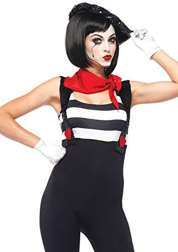 LEG AVENUE 85222 - Marvelous Mime Kostüm Set, 3-teilig, Größe L, schwarz