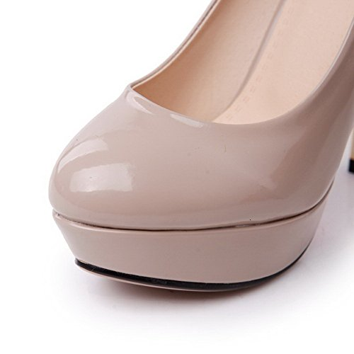 AllhqFashion Femme à Talon Haut Verni Couleur Unie Tire Rond Chaussures Légeres Abricot