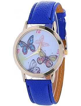 Vovotrade Damen Schmetterlings Muster Art und Weisefrauen färbte PU lederne Uhr(Blau)
