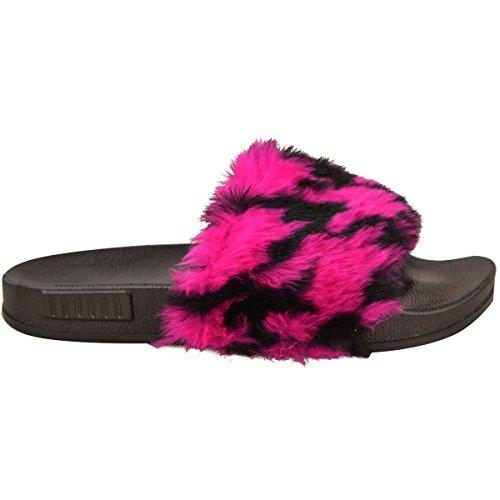 Donna Scivolare Sul Piatto Farrah Gomma Scivolosi Sabot Pelo Pantofola Sandali Scarpe rosa acceso/Nero