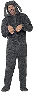 Smiffy's Adult men's Fluffy Dog Costume, Hooded All in One, Party Animals, Serious Fun, Size M, 23605