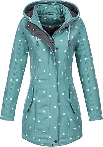 Top Fuel Fashion Damen Softshelljacke Kurzmantel Ivana Green/White dots M