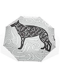 Paraguas de Dibujos Animados para Perro Pastor alemán 3 Pliegues Cierre automático Anti-UV Resistente
