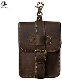 Buyworld Retro Oil Wax&Crazy Horse Genuine Mens Waist Bag Travel Fanny Pack Belt Loops Hip Bum Bag Wallet Purses...