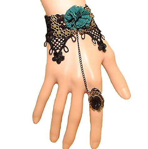 Frau Spitze Spitze Armband Retro Trend Blume Eins Armbänder,Black-L