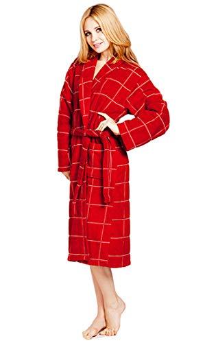 el Unisex gestrickt Lange Bademantel Plaid Streifen warm weich und gemütlich Frottee Robe Housecoat für Männer Frauen ()