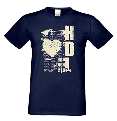 Hab Dich lieb : Geschenk zum Valentinstag Geburtstag Vatertag Weihnachten Geschenkidee : Kurzarm Sprüche-T-Shirt für Männer Herren auch in Übergrößen Farbe: navy-blau Navy-Blau