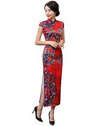 f21897ecfa94 ACVIP Cheongsam Lungo Rosso Liscio Raso Vestito a Maniche Corte con Bordo  Blu