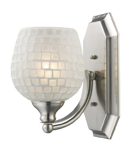 Elk 570-1N-WHT 1-Light Vanity In Satin Nickel and White Mosaic Glass by Elk