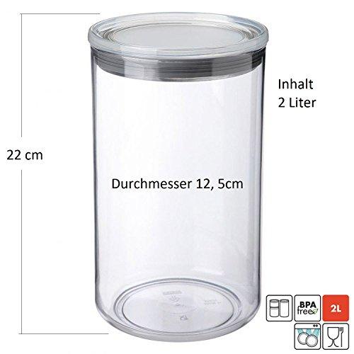 Sanixa TA1125301 Design Küchendosen System 2,0L luftdicht| Stapelbar| Aufbewahrungsdosen Küche Frischhaltedosen Vorratsdosen Vorrats-Behälter Deckel - Große Vorratsbehälter Sehr