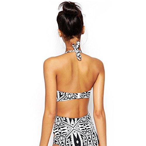 Walant Damen Hoher Taille Bikini High Waist Badeanzug Mode mit Geometrische Muster Schwarz + Weiß