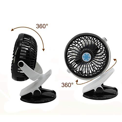 MU Tragbare USB-Lüfter Sommer Clip Fan Camping Fan wiederaufladbare USB, Clip auf Mini-Tischventilator, Kinderwagen Kinderbett Auto, für Home Room Office, A