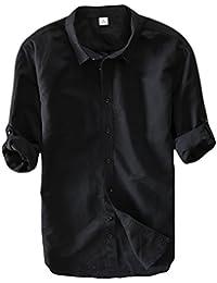 Icegrey Herren Leinen Hemden Beiläufig Langarm Leinen Shirts Strand Hemden