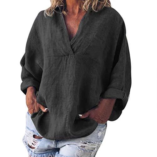 CAOQAO Damen Sexy Einfarbig Mode Plus Größe Solide Lässig Leinen V-Ausschnitt Bluse T-Shirt Atmungsaktives (Extra Tall Kostüme)