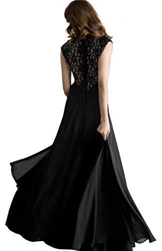 Eyekepper Robe femme demoiselle Vintage col en v sans manches longues robes Noir