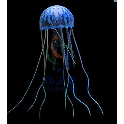 XMY Blue Artificial Glowing Effect Fish Water Decor Aquarium Jellyfish Ornament