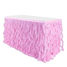 NSSONBEN 9ft Curly Willow Table Skirting Tulle Table Skirt Pink Tutu Table Skirts for Round Rectangle Table for Baby Shower Birthday Party Wedding Banquet Decorations