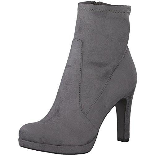 Tamaris Damen Plateaustiefeletten 25365-21,Frauen Stiefel,Boots,Halbstiefel,Plateau-Bootie,hoch,Trichterabsatz 9.5cm,Graphite,EU 38