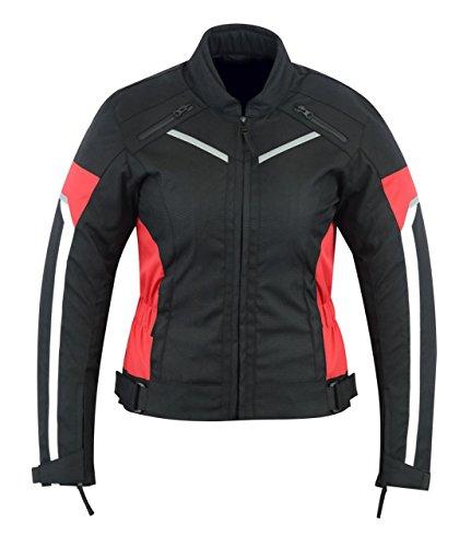 Giacca da moto protettiva da donna, impermeabile, nera/rossa, WCJ-1834RED