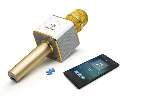 MusicMan 4685 Karaoke Mikrofon BT-X31 (Bluetooth, kompatibel mit Smartphone/Apple iPhone gold/weiß - 9