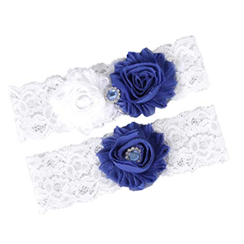 Lace Leg Garter (Amosfun 1 Pair Rhinestone Lace Bridal Foot Decor Western Wedding Bride Garter Thigh Ring Sexy Floral Leg Band Crystal Ornaments(Blue))