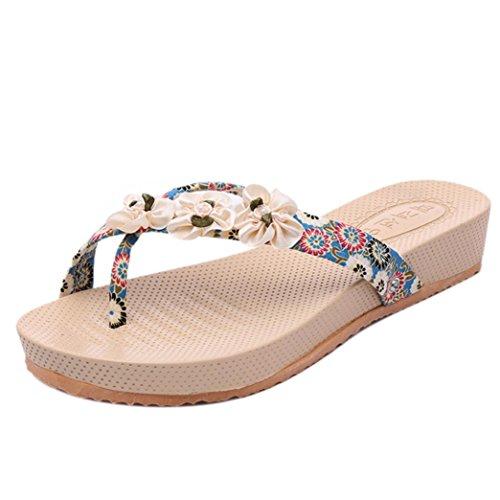 Hunpta Bohemia Sandálias Floral Chinelos Lazer Senhora Da Praia Ao Ar Livre Toepost Sapatos Femininos Azuis