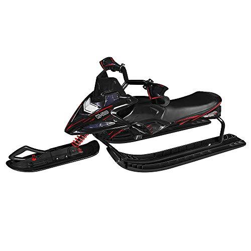 UISERBT Lenkschlitten für Kinder - Bob Kinderschlitten Schlitten mit Fußbremse und Automatisches Zugseil, Kufenlenkung, bis 60 kg (Type B, Schwarz)