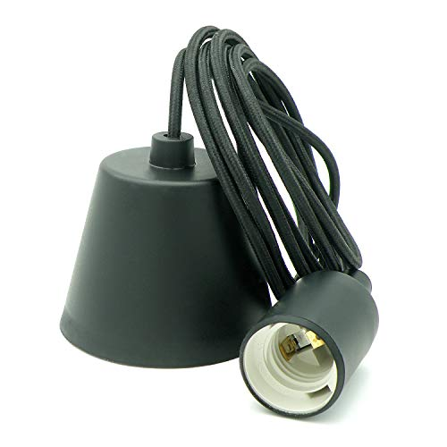 Lampen-Set mit Fassung, Stoffkabel und Deckenabschluß, schwarz mit 3 Meter Kabel